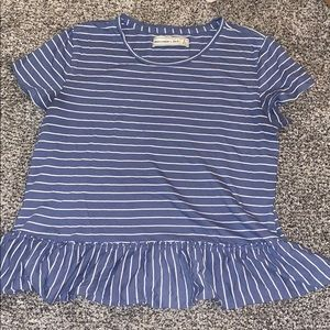 abercrombie & fitch blue and white striped top